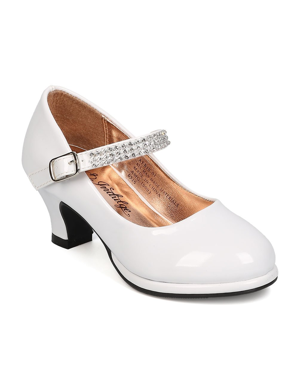 Indulge FA63 Patent Leatherette Round Toe Rhinestones Mary Jane Kiddie Heel Pump (Toddler Girl/Little Girl/Big Girl) - White (Size: Little Kid 11)