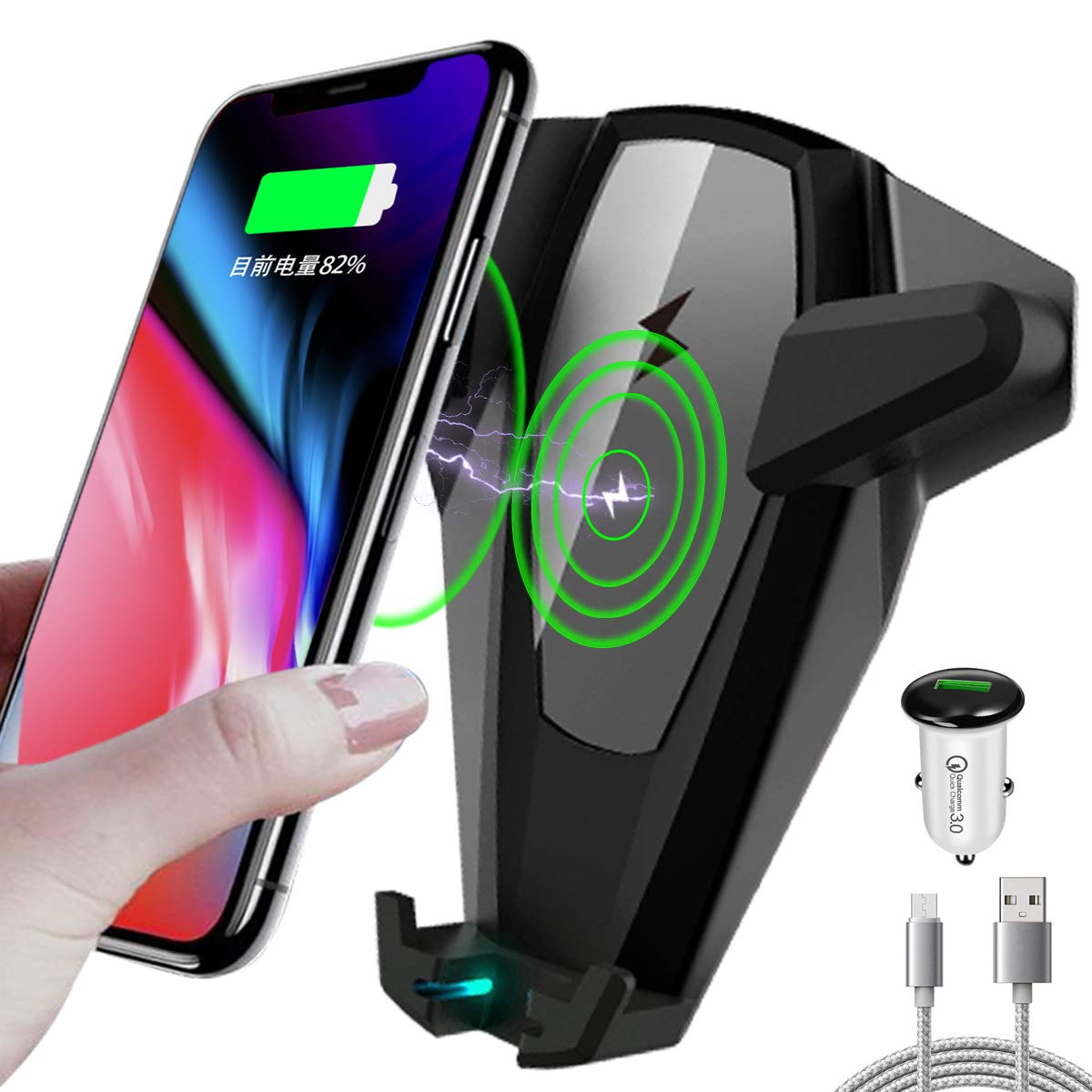 rhungift Wireless car charger car cell phone mount Gravity Linkage Phone Holder with Air Vent for iphone x 8 plus samsung galaxy s7 s6 edge+ note 5 s8 S9+ with car-dashboard suction mount gravity linkage air vent phone-holder CAR-CA-002