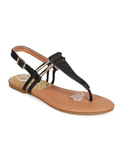 0e9201baa252 Qupid Women Snakeskin Gold-Plated Slingback T-Strap Thong Sandal DH48 -  Black (