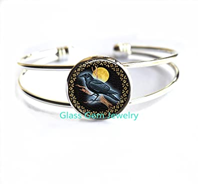1pcs Midnight Raven Moon jewelry Glass Cabochon Bracelet.XY64