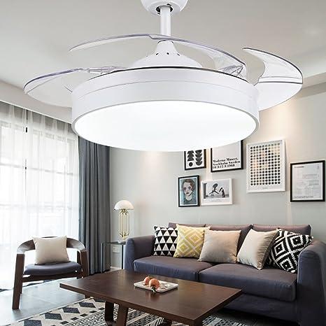 Ventilador invisible Ventilador de techo simple con lámpara para salón Comedor Ventilador delgado Lámparas colgantes Dormitorio, Ventilador de moda ...