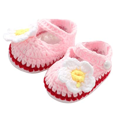 b015f6fd404d3 chinatera Handmade Newborn Baby Infant Boys Girls Crochet Knit Toddler  Shoes Causal Photography (Light Pink