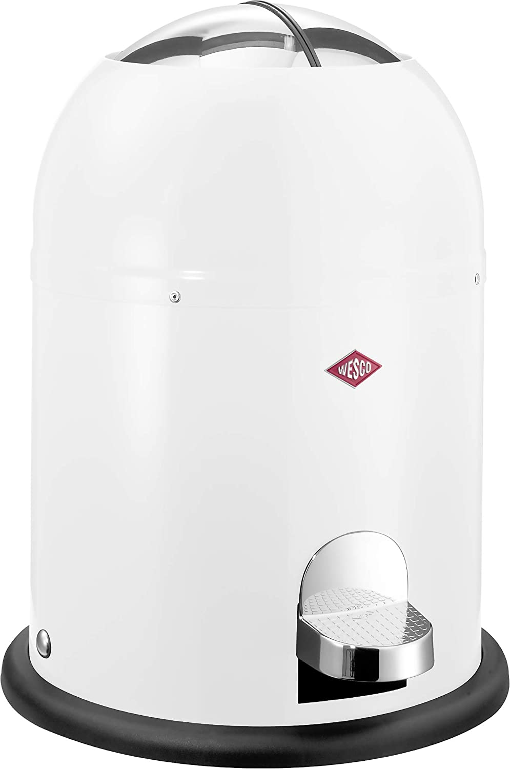 Wesco Single Master - German Designed - Small Step Trash Can, Powder Coated Ssteel, 2.4 Gallon / 9 L, White