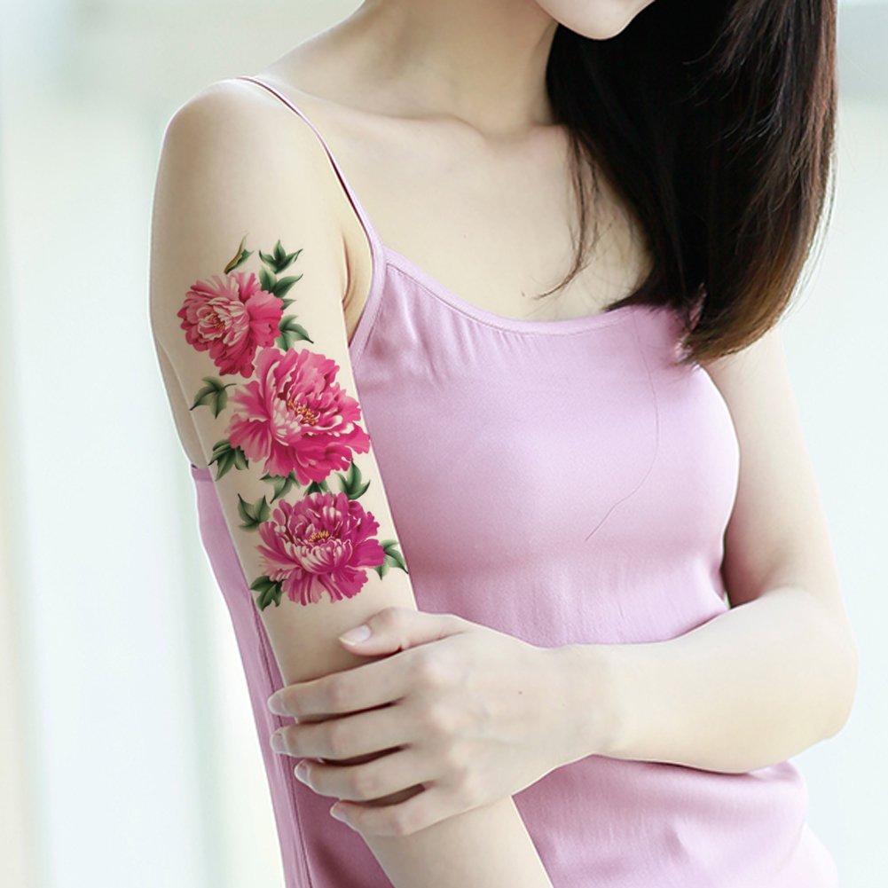 TAFLY Temporary Tattoos Pink Peony Flower Waterproof Large Transfer Tattoos for Women 5 Sheets