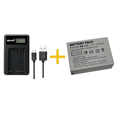 1 piezas 1200 mAh NB-10L NB10L Batería con cargador de batería para Canon NB-10L NB10L NB10L SX40HS SX50HS SX60HS SX40 SX50 SX60 HS Cámara (1 pcs ...