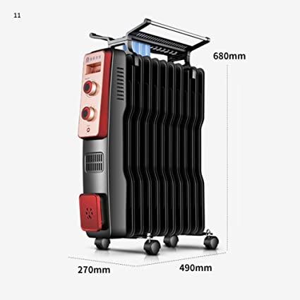 ZZHF Calentador Radiador de Aceite radiador eléctrico Vertical Estufa eléctrica de Ahorro de energía Tamaño Opcional disipador de Calor (Color : 15 ...