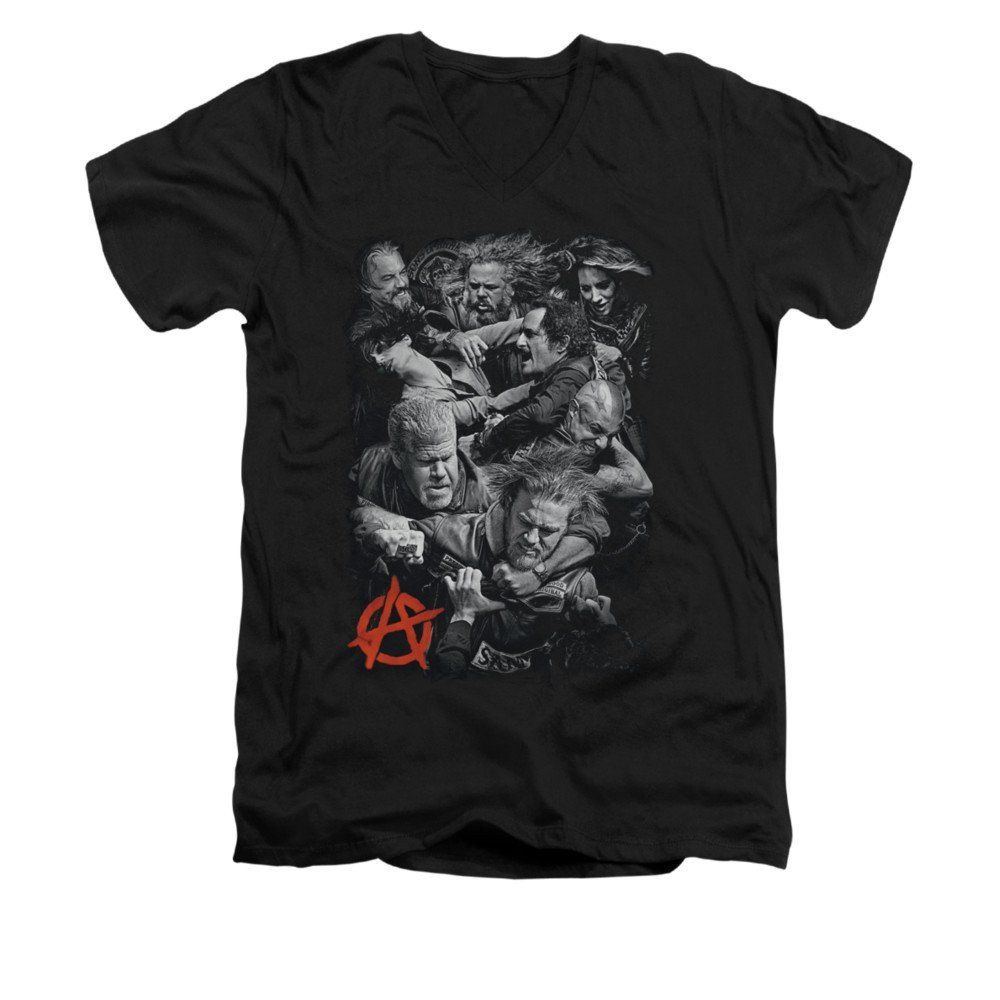 Sons Of Anarchy Group Fight Adult V-neck T-shirt