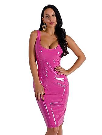 b8d53b86bc3 Miss ord Women Sexy Irregular Neck Latex Sleeveless Party Club Dress Pink XS