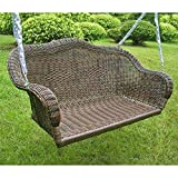 wicker porch swings International Caravan 3183-AP-IC Furniture Piece Resin Wicker Hanging Loveseat Swing
