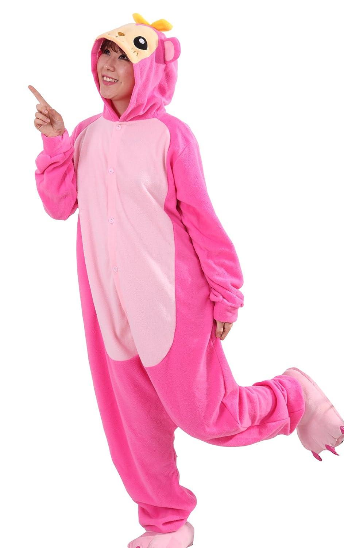 Honeystore Unisex Pajamas Pink Monkey Animal One Pieces Cosplay Homewear Costume L