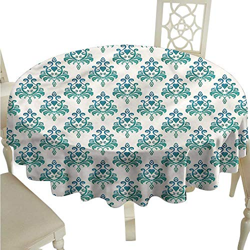 ScottDecor Printed Tablecloth Victorian,Leaves and Heart Shapes Dinning Tabletop Decoration Round Tablecloth D 70