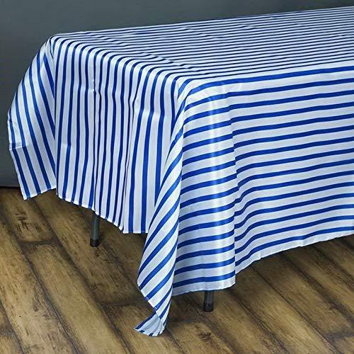 (Mikash Satin Stripes 90x156 Rectangular Tablecloth - Wedding Party Decorations Sale   Model WDDNGDCRTN - 17665  )