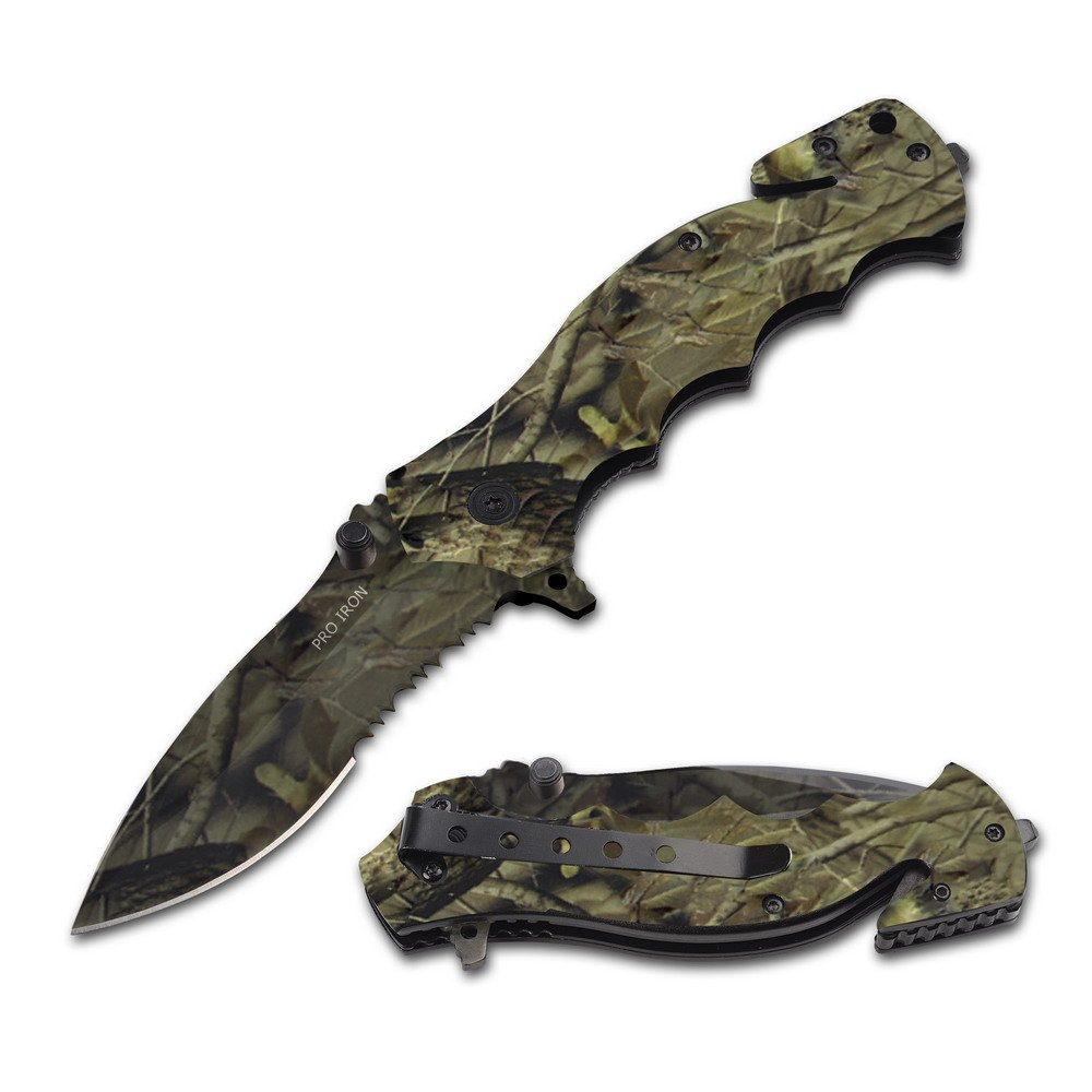 Pro Iron Assisted Opening Serrated Edge Outdoor Survival Camping Hunting Knife Woods men Camo 2 Knifes