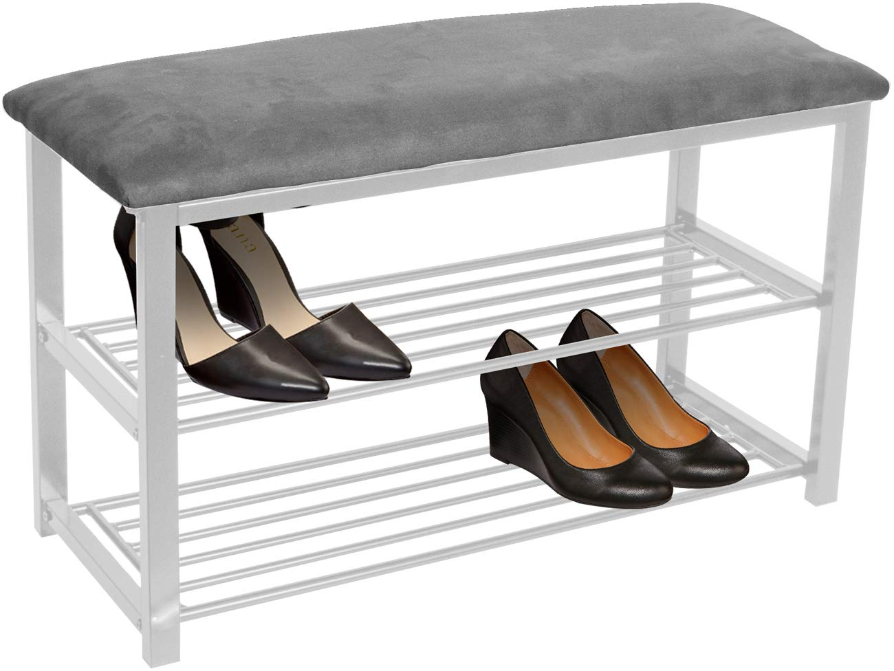 Sorbus Shoe Rack Bench - Shoes Racks Organizer - Perfect Bench Seat Storage for Hallway Entryway, Mudroom, Closet, Bedroom, etc (Gray/White) by Sorbus