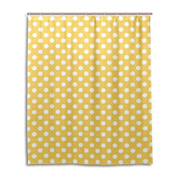 Amazon.com: My Daily Yellow and White Polka Dot Shower Curtain 60 x ...