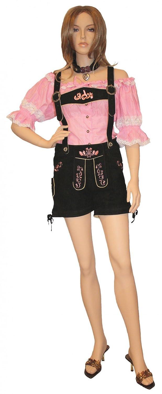 Kurze Damen trachtenlederhose Ziegenleder damenlederhose Schwarz-Rosa