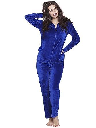 Nightwear for Women - Night Suit - Zippered Top   Pyjama Combo Set - Velvet  Material - Blue Color - Full ... 034f93e07