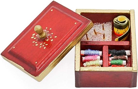 Amazon.es: Odoria 1/12 Miniatura Caja de Coser Madera Decorativo para Casa de Muñecas: Juguetes y juegos