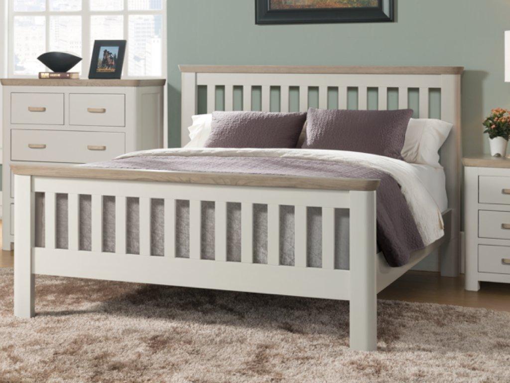 Biselado pintado sólido roble 4 ft 6 doble marco de la cama - 4 ft 6 ...