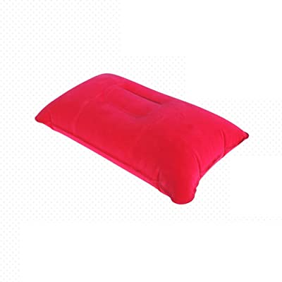 Oreiller gonflable Mmtop Voyage Coussin d'air Camping Plage de voiture Repose-tête support (2 pcs), PVC, Red, 38x24cm / 14.96x9.44inch