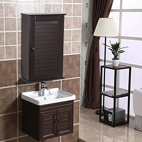 Yaheetech Wood Bathroom Wall Mount Cabinet Toilet Medicine Storage Organizer Single Door with Adjustable Shelves Espresso 0.12' Wall