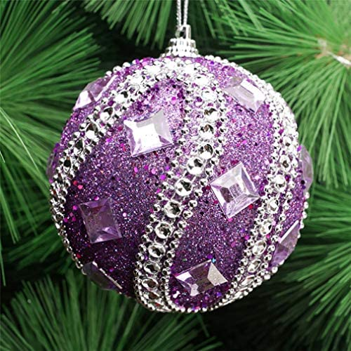 Christmas Rhinestone Glitter Baubles Ball Xmas Tree Ornament Decoration 8CM JC