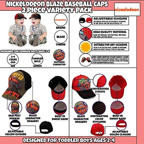 Nickelodeon Toddler Boys Blaze Character Cotton Baseball Cap, 2 Piece Variety Design Set, Age 2-4 by Nickelodeon (Image #2)