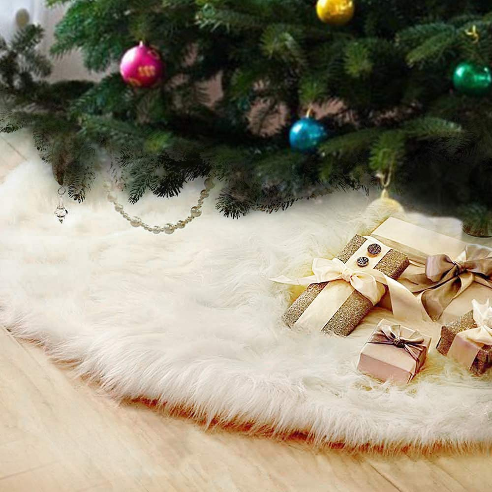 FlowersSea Christmas Tree Skirts 122cm White Luxury Faux Fur Xmas Tree Ornaments Plush Skirt Holiday Decoration New Year Party
