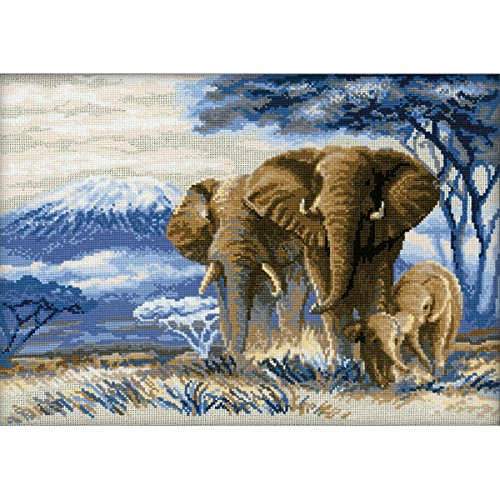 Riolis 14 Count Elephants in The Savannah Counted Cross Stitch Kit, 15.75 by 11.75-Inch