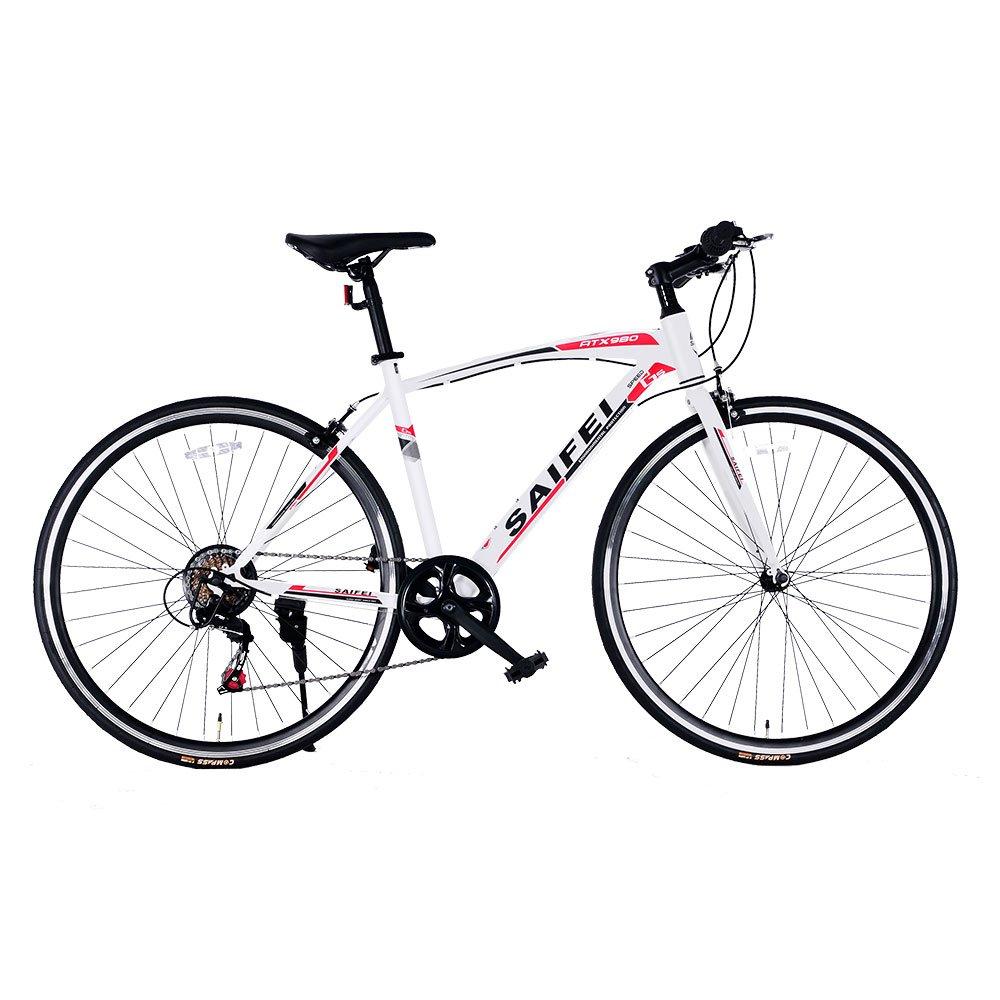 クロスバイク 700*23C SD-02自転車 7段変速 初心者 街乗り フラットハンドル 男女兼用 通勤通学 軽量 B076J7DGDV ホワイト ホワイト