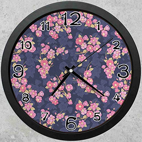 47BuyZHJX 10 Inch Round Decorative Wall Clock (Black),Backdrop Pattern -Asian Chinese Culture Traditional Floral Garden Retro - Floral Clock Garden Decorative