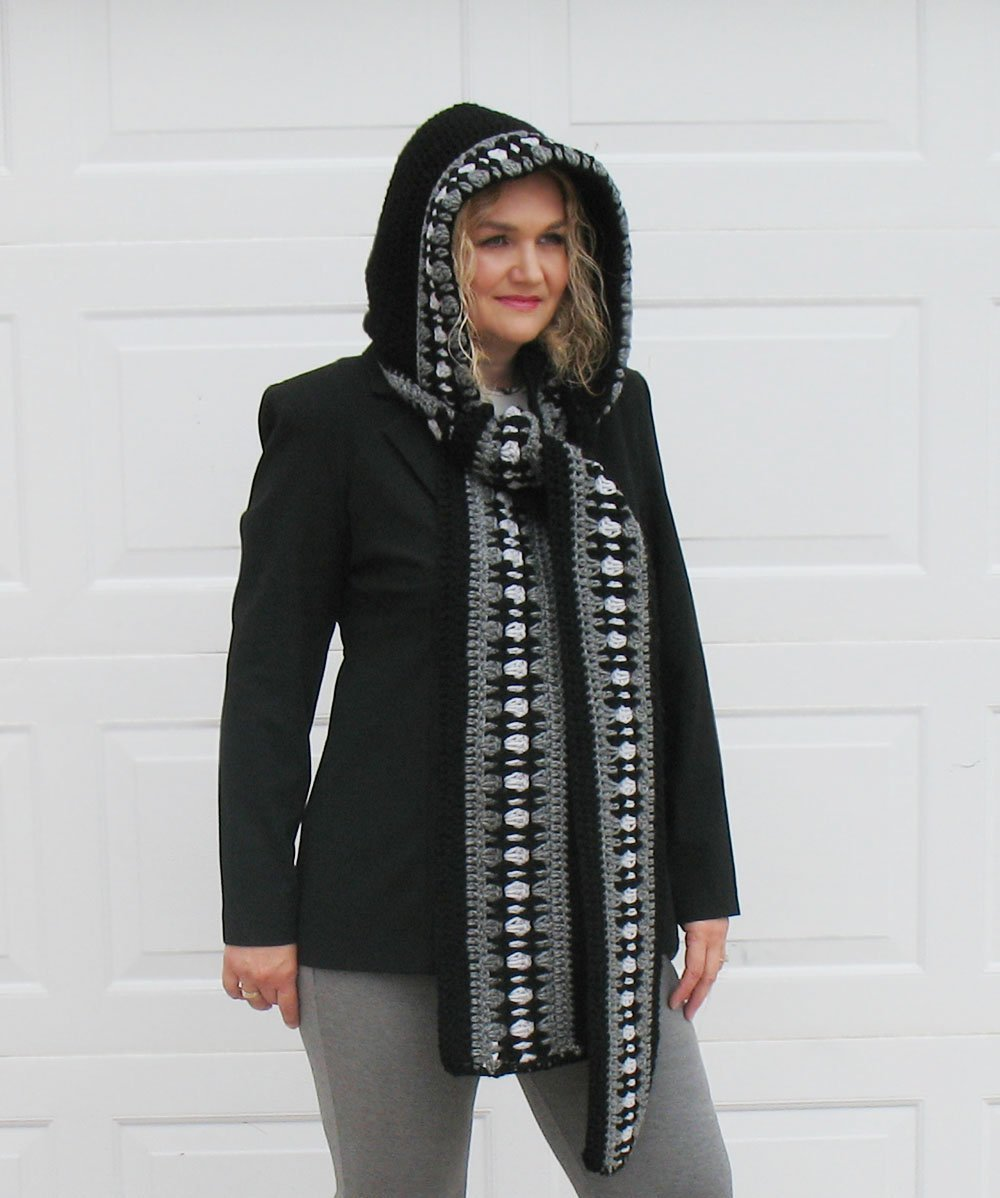Crochet Hooded Scarf - Black Grey Scarf - Woman Wrap - Handmade Christmas Gift Made in USA Free Shipping by AlenasDesign