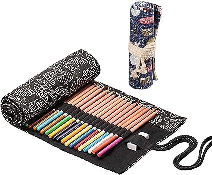 pittori 24 fori+ 36 fori per artisti 2 Rotoli Tela Matita Wrap colorato Sacchetto della matita studenti artisti astuccio arrotolabile Tela Matite Cassa di Matita Astuccio Roll Up Pencil Pouch