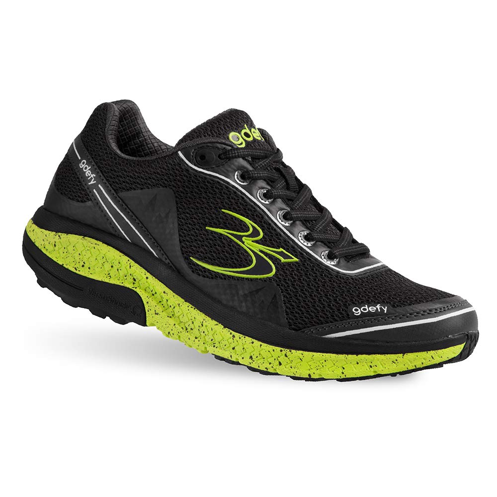 Gravity Defyer Proven Pain Relief Women's G-Defy Mighty Walk Black Lime Athletic Shoes 6 M US - Best Shoes for Heel Pain, Foot Pain and Plantar Fasciitis