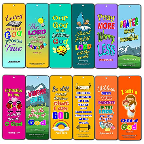 (Easy Bible Scriptures for Kids - Colorful (30-Pack) - Handy Memory Verses for Kids and Colorful Bookmarks Perfect for Children's Ministries and Sunday Schools)