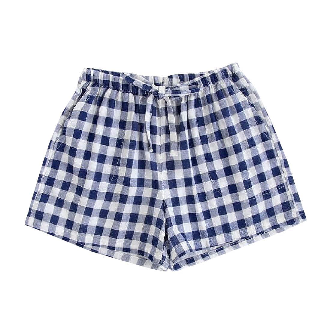 Lutratocro Mens Casual Sport Cotton Drawstring Plaid Shorts Boxers