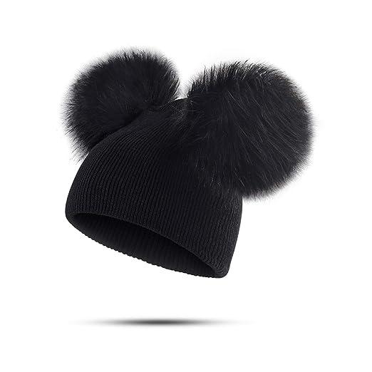 Children Hat Toddler Kids Warm Winter Wool Hat Knit Beanie Fur Pom Hat Baby  Boys Girls 3f6a40c449e