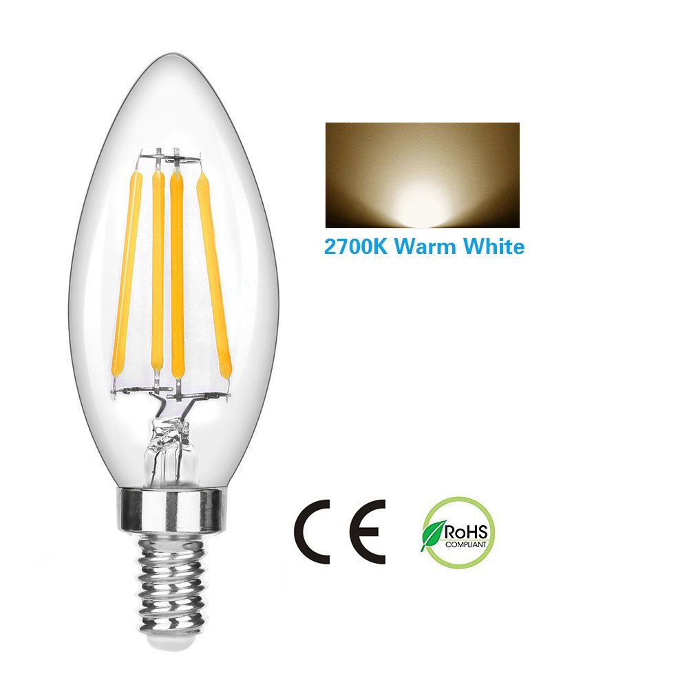 LEDERA Dimmable E12 LED Candelabra Bulb, 4W, 350lm, Candle Light Bulbs, Warm White 2700K, 6-Pack.