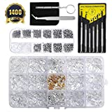 Eyeglasses Repair Kit 1400Pcs Tiny Screws Nut Washer 150 Pairs Eyewear Nose Pads with Tweezer Screwdriver Cleaning Cloth for Sunglasses Spectacles and Watch Repair