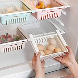 Fridge Drawer Organizer, 4 Pack Retractable Drawer Refrigerator Storage Box, Unique Design Pull Out Bins, Fridge Shelf Holder Storage Box, Small Size, Fit for Fridge Shelf Under 0.5 inch