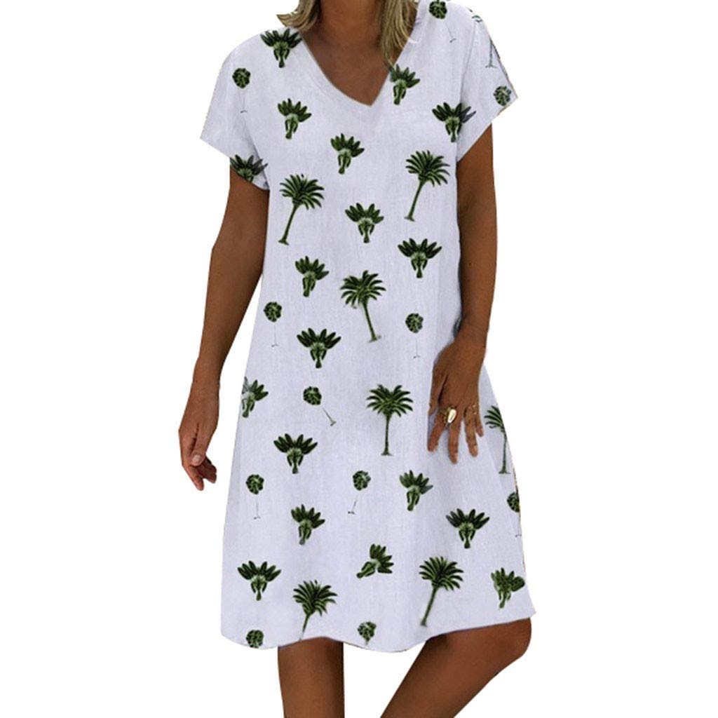 Women's Short Sleeve Dress ❀Vine_MINMI❀ Printed Dresses Loose T-Shirt V-Neck Tunic Knee-Length Holiday Skirt White by Vine_MINMI Dress