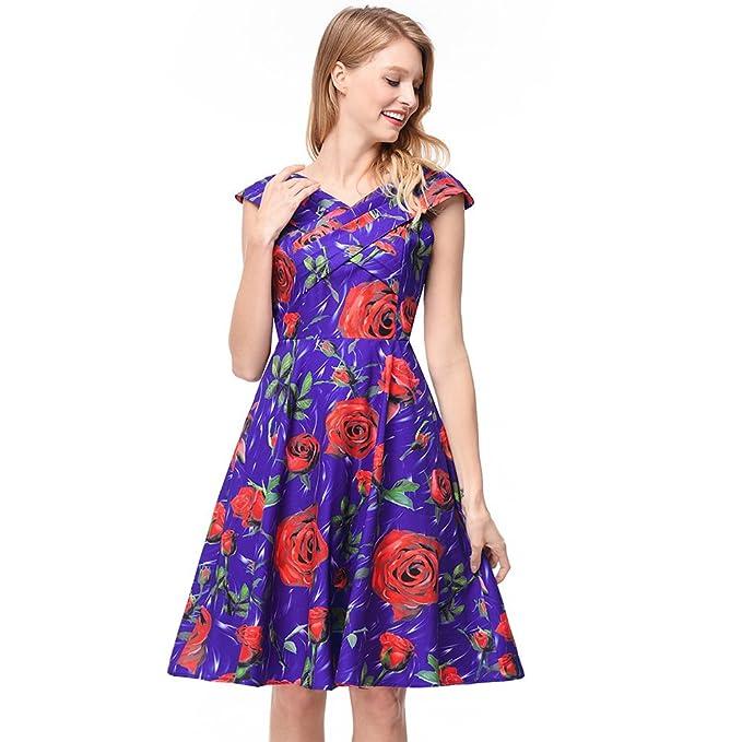 antaina Estampado de Flores Púrpura Una Línea Fiesta en la Playa Vintage Midi Lindo Patinador Vestido