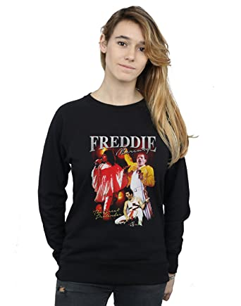 Amazon.com: Absolute Cult Queen Womens Freddie Mercury Homage Sweatshirt: Clothing