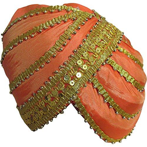 Mens Indian Traditional Wedding Gold Trim Maharaja Turban Ethnic Print No9 -