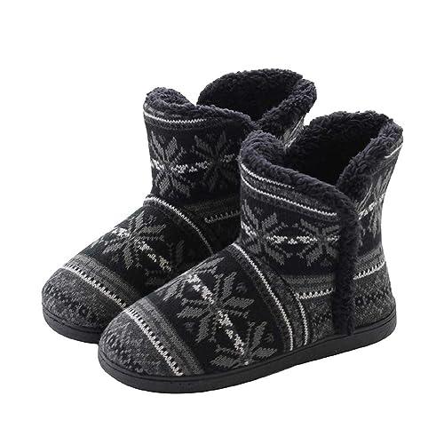 Mocasines de Pareja Zapatillas de Casa para Mujer/Hombres Forro Cálido Zapatos Casuales Zapatillas de Tobillo Zapatilla de Invierno Antideslizante Suela ...