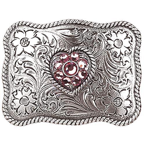 Rhinestone Belt Heart Buckle - Nocona Girl's Rhinestones Heart Belt Buckle, Silver, OS