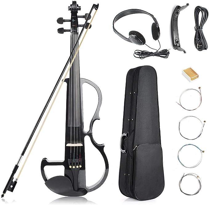 Kit de violín eléctrico, 4/4 Tamaño Completo Violín Silencioso, Negro: Amazon.es: Instrumentos musicales