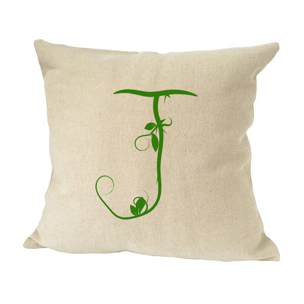 ''J '' Wood Branch Green Monogram Letter J Bed Home Decor Faux Linen Pillow Cover