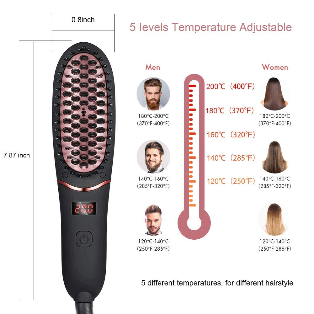 Hair Straightener Brush for Men Women,Portable Ionic Beard Straightener, Anti-Scald Hair Straightening Brush with Fast Heating Ceramic Heating Comb with LED Display for Home or Travel
