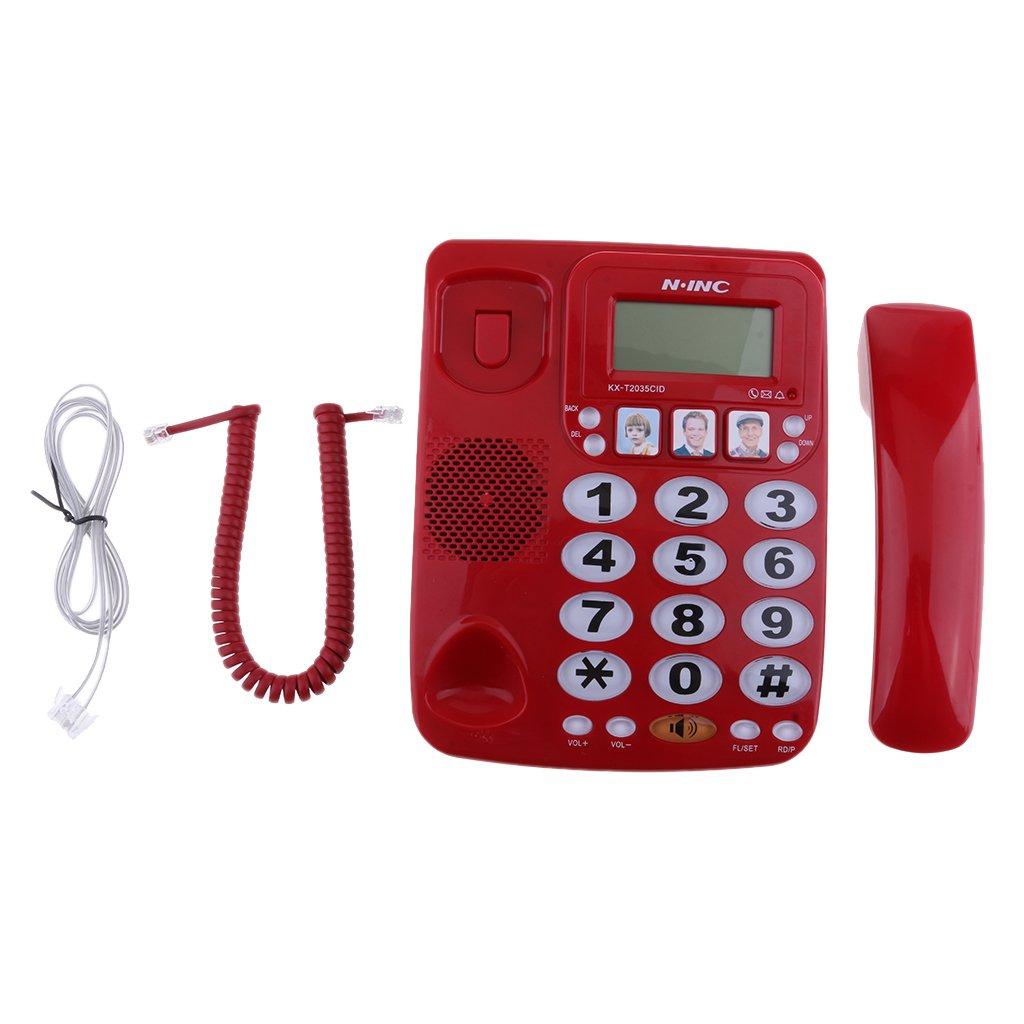 perfk Slim-line Corded Phone Amplified Photo Landline Telephone Waterproof and Moisture-proof for Office Home Hotel Bathroom KX-2035CID Red